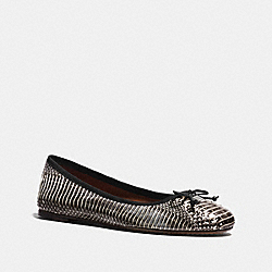 LOLA BALLET IN SNAKESKIN - BLACK WHITE - COACH FG1026