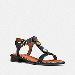 TEA ROSE T-STRAP SANDAL - BLACK - COACH FG1214