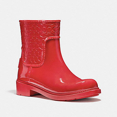 COACH SIGNATURE RAIN BOOTIE - TRUE RED - fg1877