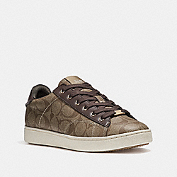C126 LOW TOP SNEAKER - KHAKI/MAHOGANY - COACH FG1888