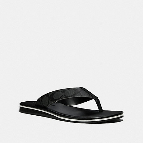 COACH ROCKAWAY FLIP FLOP IN SIGNATURE - BLACK/BLACK - fg2050