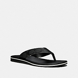 ROCKAWAY FLIP FLOP IN SIGNATURE - BLACK/BLACK - COACH FG2050