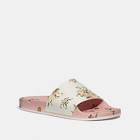 COACH SPORT SLIDE WITH TOSSED ROSE PRINT - CHALK/BLUSH - fg2179