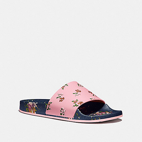 COACH SPORT SLIDE WITH TOSSED ROSE PRINT - Blush/Midnight Navy - fg2179