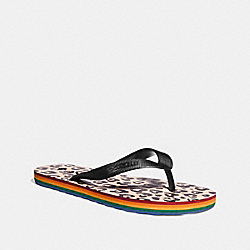 ROLLER BOTTOM FLIP FLOP WITH WILD BEAST LOVE PRINT - BLACK/LIGHT PINK - COACH FG2185