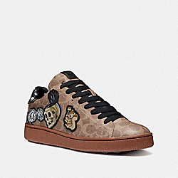 DISNEY X COACH C101 LOW TOP SNEAKER WITH PATCHES - KHAKI/PEPPER - COACH FG2653