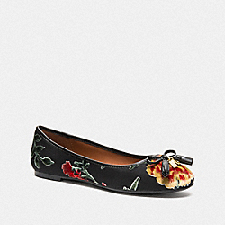 BENNI BALLET WITH FLORAL PRINT - BLACK MULTI - COACH FG3140