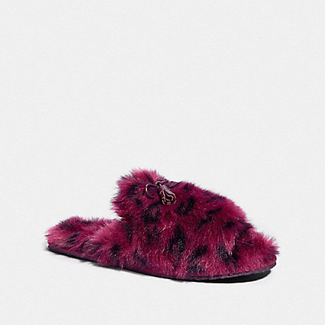 COACH ZOE SLIPPER WITH OCELOT PRINT - OXBLOOD - FG3160