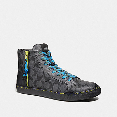 COACH C204 HIGH TOP SNEAKER - CHARCOAL/BLACK - FG3207