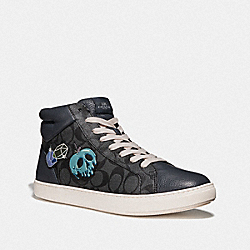 DISNEY X COACH C204 HIGH TOP SNEAKER WITH SNOW WHITE AND THE SEVEN DWARFS PATCHES - GRAPHITE MULTI - COACH FG3840