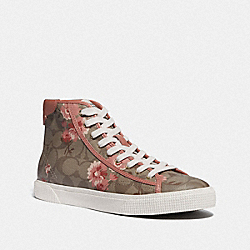 C207 HIGH TOP SNEAKER WITH FLORAL PRINT - KHAKI/PINK - COACH FG4313