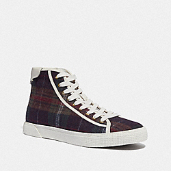 C207 HIGH TOP SNEAKER WITH PLAID PRINT - GREEN PLAID - COACH FG4314