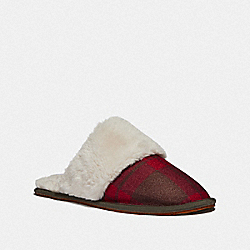 ZIVA SLIPPER WITH PLAID PRINT - RED PLAID - COACH FG4638