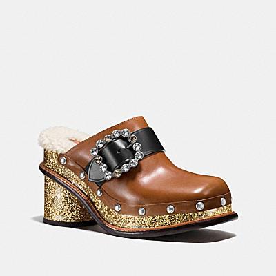 閃亮木底高跟涼鞋