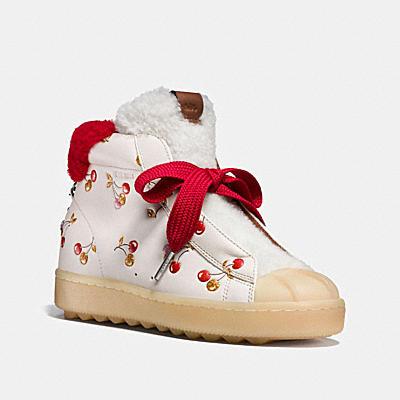 櫻桃圖案高筒休閒鞋