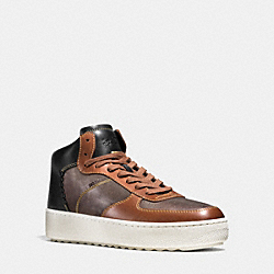 PATCHWORK C210 HIGH TOP SNEAKER - MAHOGANY/DK SADDLE/BLACK - COACH G1563