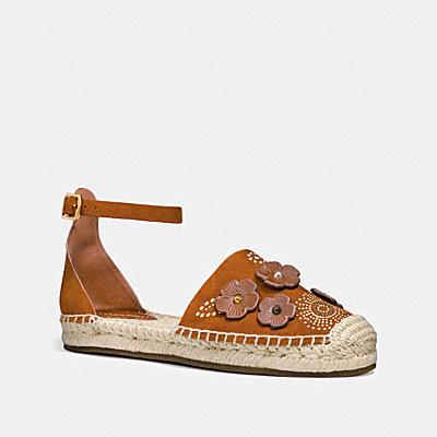 茶香玫瑰鉚釘腳踝繫帶草編鞋