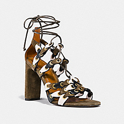 LACE UP HEEL SANDAL WITH COACH LINK - FATIGUE/CHALK/BLACK - COACH G2068