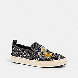 C115 SLIP ON SNEAKER WITH SHOOTING STAR PATCHES - GUNMETAL - COACH G2155