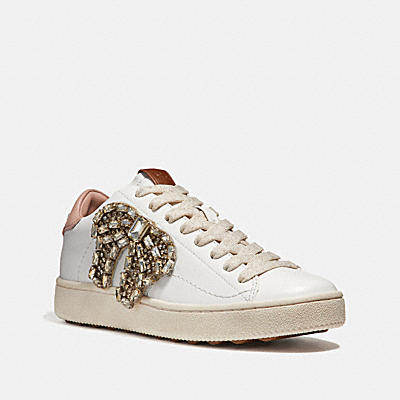 C101水晶蝴蝶結徽章運動鞋