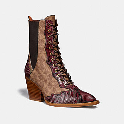 LACE UP BOOTIE IN SIGNATURE CANVAS WITH SNAKE DETAIL