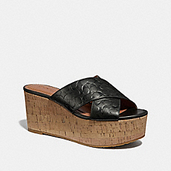 CROSS BAND WEDGE SLIDE SANDAL - BLACK - COACH G2738