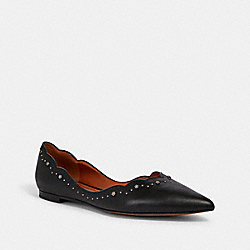 VIVIAN FLAT WITH TEA ROSE STUDS - BLACK - COACH G3272