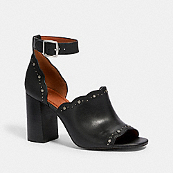 MARNIE BLOCK HEEL WITH TEA ROSE STUDS - BLACK - COACH G3321