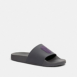 SLIDE WITH COACH PATCH - INDUSTRIAL GREY/DUSTY LAVENDER - COACH G4920