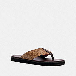 FLIP FLOP IN SIGNATURE CANVAS - KHAKI MULTI - COACH G4921