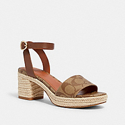 PIPER ESPADRILLE HEEL - KHAKI/SADDLE - COACH G5134