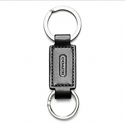 COACH LEATHER VALET KEY RING - BLACK - IR7273