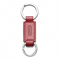 COACH LEATHER VALET KEY RING - RED - IR7273