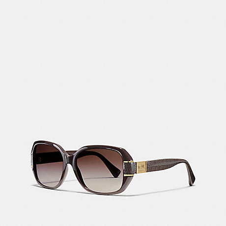 COACH BRYN RECTANGLE HORSE AND CARRIAGE SUNGLASSES - CHOCOLATE - L090