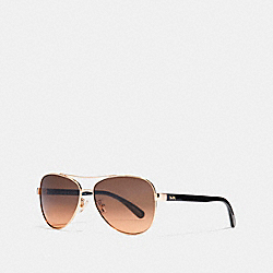 HORSE AND CARRIAGE PILOT SUNGLASSES - LIGHT GOLD/DARK TORTOISE - COACH L1015