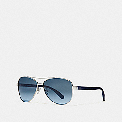 HORSE AND CARRIAGE PILOT SUNGLASSES - SILVER/NAVY - COACH L1015
