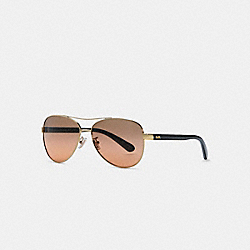 COACH HORSE AND CARRIAGE PILOT SUNGLASSES - LIGHT GOLD BLACK - L1015