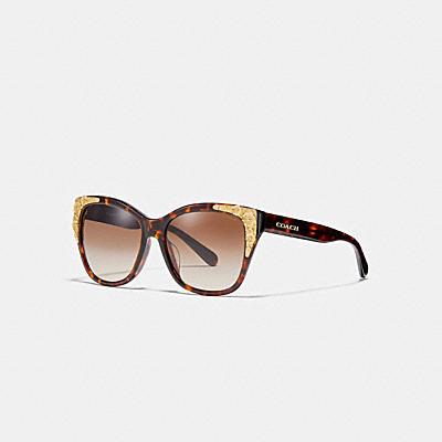 亞洲版金屬茶香玫瑰方形太陽眼鏡