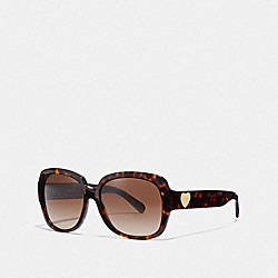 COACH ZOEY HEART SUNGLASSES - DARK TORTOISE - L1052