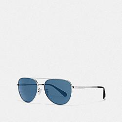 COOPER PILOT SUNGLASSES - SHINY GUNMETAL/BLUE FLASH - COACH L1055