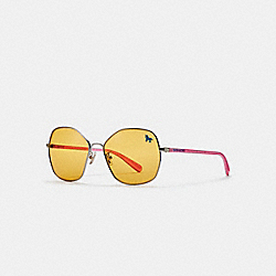 SHAPED SUNGLASSES - SILVER/SHIMMER PINK/AMBER - COACH L1062