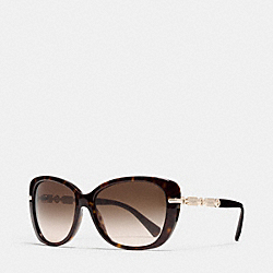 COACH HANG TAG CHAIN CAT EYE SUNGLASSES - DARK TORTOISE/LIGHT GOLD - L108