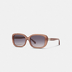 SIGNATURE RECTANGLE SUNGLASSES - MILKY PEARLD BROWN - COACH L1142