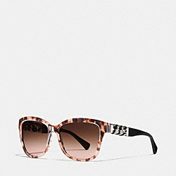 COACH WHIPLASH WAYFARER SUNGLASSES - PEACH TORTOISE/DARK BROWN - L131