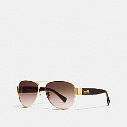 COACH HORSE AND CARRIAGE PILOT SUNGLASSES - GOLD/DARK TORTOISE - L138