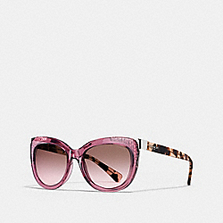 COACH SIGNATURE SQUARE SUNGLASSES - CRYS BERRY/PEACH TORT - L152