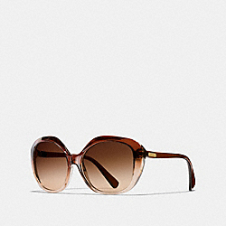 COACH DREAMER HEXAGON SUNGLASSES - BROWN GRADIENT/BROWN - L1605