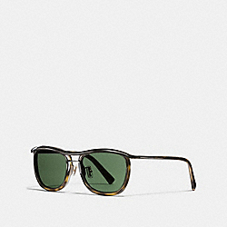 COACH RIMMED PILOT SUNGLASSES - OLIVE TORTOISE/ANTIQUE BRASS - L1640