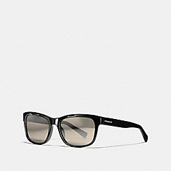 HUDSON RECTANGLE SUNGLASSES - BLACK/SILVER MIRROR - COACH L1641