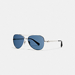 COACH HORSE AND CARRIAGE METAL PILOT SUNGLASSES - SILVER/DARK BLUE SOLID - L1648